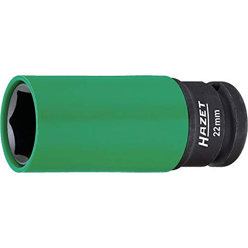 HAZET Steckschlüsseleinsatz (1/2 Zoll (12,5 mm) Vierkantantrieb, mit Kunststoffhülse zum Schutz von Felgen, Schlüsselweite: 22 mm) 903SLG-22