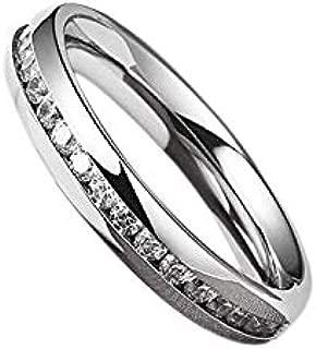 Brisk Women's Eternity Titanium Rings Wedding Band with Cubic Zirconia Sizes 6 to 11 (7)