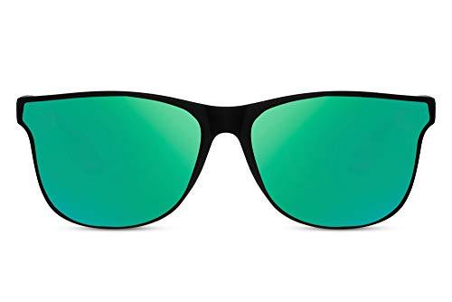 Cheapass Gafas de Sol Montura Amplia Mate Rectangular Negra con Cristales Esquinados Verdes Espejados UV400 Hombres