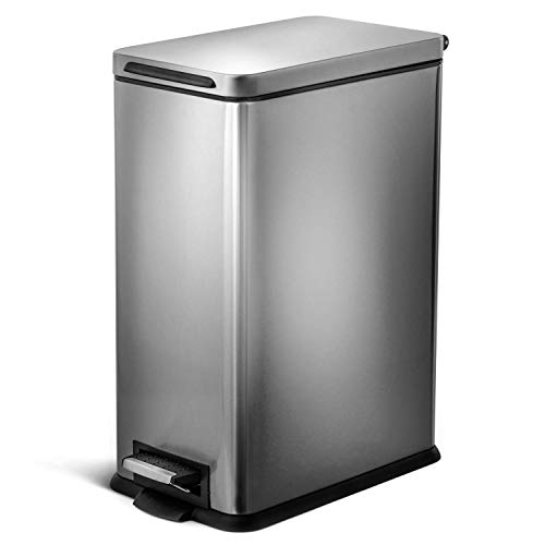Home Zone Living 8 Gallon Kitchen Trash Can, Slim Stainless Steel, Step Pedal, 30 Liter