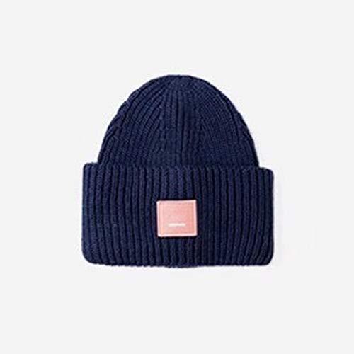 Nuevos Sombreros Unisex de otoño e Invierno para Mujer, Gorro cálido de Doble Capa, Gorro Skulies, Gorro de Punto cálido-Navy