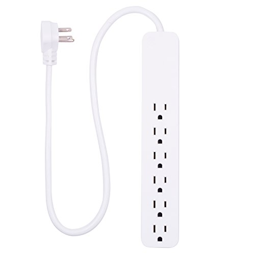 GE Power Strip Surge Protector, 6 Outlets, Flat Plug, 2ft Power Cord, Wall Mount, White, 40532