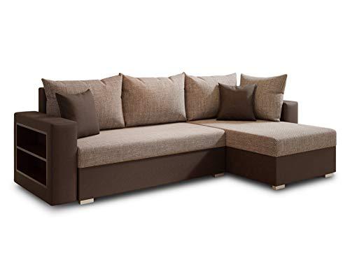 Ecksofa Lord mit Regal und Schlaffunktion - Sofa mit Bettkasten, Schlafsofa, Polsterecke, Couch L-Form, Couchgarnitur, Sofagarnitur (Braun + Beige (Dolaro 33 + Berlin 03), Ecksofa Rechts)