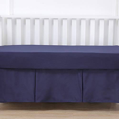 Belsden Crib Skirt with Durable Woven Platform for Boy and Girl, 2 Long Sides Pleated, Split Corners Dust Ruffle for Easy Placement Inside of Standard Crib, 14 inches (36 cm) Length Drop, Navy Color