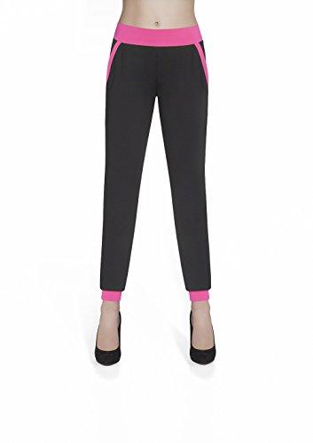 Leggings/kousen, blauw, modern, met roze versiering, maat L harembroek Taille M zwart