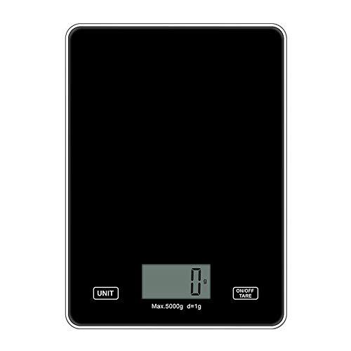 IWILCS Báscula de cocina digital, báscula de cocina con pantalla LCD, báscula doméstica de alta precisión, de cristal de seguridad, para pesar alimentos, color negro