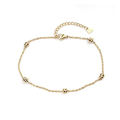 yqs Tobillera de Mujer Moda de Acero Inoxidable tobillón Oro Simple en brazaletes de Tobillo de pie para Las Mujeres Cadena de piernas Joyería 23.5cm 22cm de Largo (Color : 1)