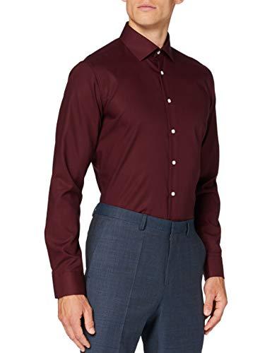 Seidensticker Herren Business Hemd, Rot (Bordeaux), 36