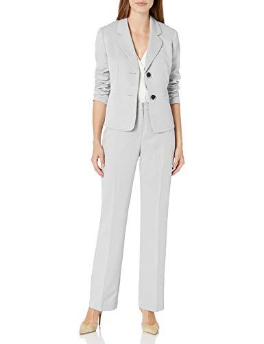 Le Suit Women's Textured 2 Bttn Notch Lapel Pant Suit, Grey Stone, 12