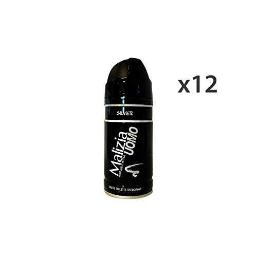 Set 12 MALIZIA Deodorante Uomo Silver 150 Ml. Spray Körperpflege
