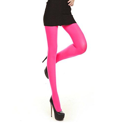 Libella Damen bunte Neon Strümpfe in Klassischen und Trendfarben Bonbon Farben Microfaser Strumpfhose Neon-Rosa 05 L
