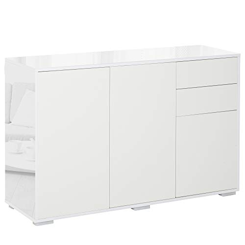 HOMCOM High Gloss Sideboard, Side Cabinet, Push-Open Design with 2 Drawer for Living Room, Bedroom, White