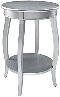 Powell's Furniture 145-350 Powell Round Shelf, Silver Table,