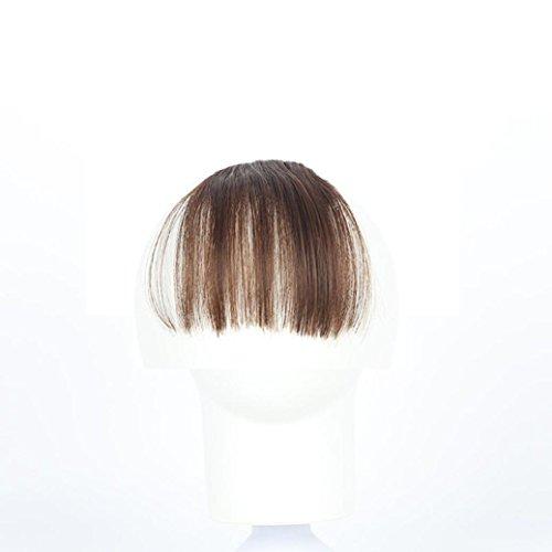 Mini Frange a Clip,Rameng Hair Extensions Clip on Bangs Extension de Cheveux Naturel Humains (marron clair)