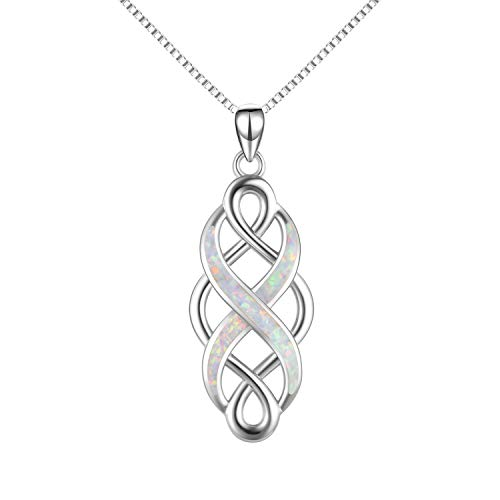 YFN Irish Celtic Knot Created Opal Pendant Necklace Infinity Love Sterling Silver CZ Jewelry 18' (White Opal Celtic Knot Necklace)
