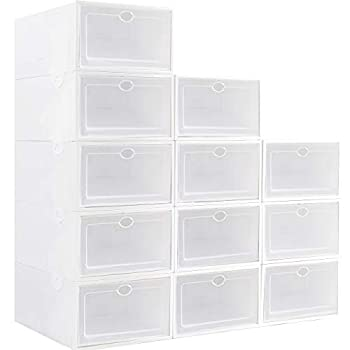 IRONLAND Stackable Shoe Storage Box Foldable Clear Plastic Shoe Organizer 12 Pack Need to be Assembled  White