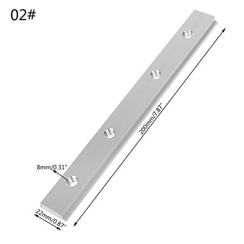 JOYKK M8 200mm Dia-Platte T-Schienen-Slot für T-Nut-Gehrung-Schienenbefestigung Slot-Fräsertisch Holzbearbeitungswerkzeuge - Silber