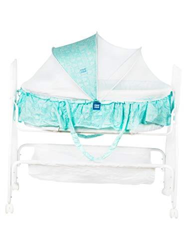 Mee Mee 2 in 1 Wooden Baby Cradle Bassinet (Blue)
