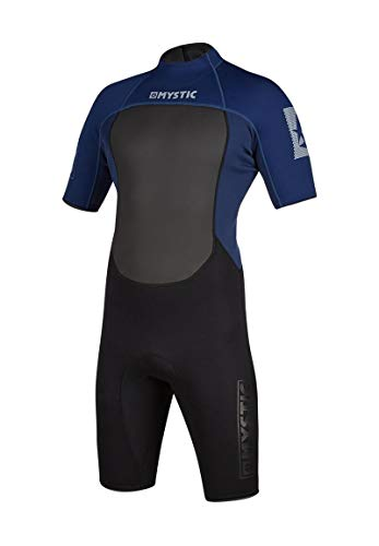 Mystic Watersports - Surf Kitesurf & Windsurfing Herren Brand 3/2mm Back Zip Shorty Neoprenanzug - Navy - Easy Stretch