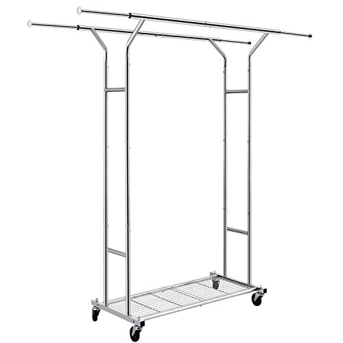 Simple Trending Double Rail Clothing Garment Rack, Heavy Duty Commercial Grade Rolling Clothes Organizer with Wheels and Bottom Shelves, Holds up to 250 lbs, Chrome