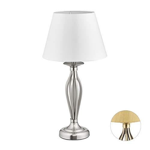 Relaxdays, silber Schirmlampe, dekorative Tischlampe mit Schalter, antikes Design, E27-Fassung, Dekolampe, HD 53 x 27 cm, Stahl, Stoff, 53 x 27 x 27 cm