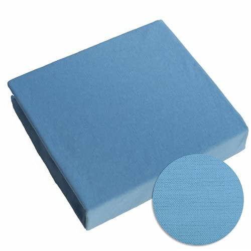 Lenzuolo con angoli, 100% jersey di cotone, per lettino da bambini da 160 x 70 cm (Blu)