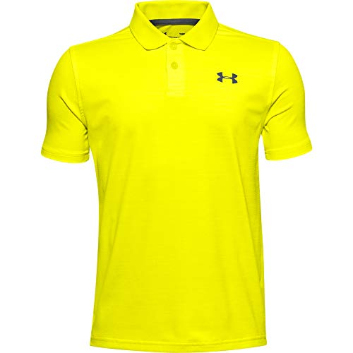 Under Armour Jungen Polo Performance strukturiertes Poloshirt, Yellow Ray/White/Pitch Gray (706), S, 1342083-706