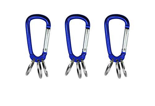 Karabiner Schlüsselanhänger, 3 Stück Schlüssel Anhänger, Schlüssel Organizer, Key Holder, Schlüsselbund Karabiner, 3 ausklinkbare Ringe zur Schlüsselorganisation(Blau)