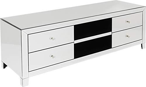 Kare Design TV Board Luxury 140 cm, verspiegeltes TV Board mit 4 Schubladen und 2 Ablagefächern, Silber, edles Möbelstück für den Wohnbereich, weitere Ausführungen erhältlich, (H/B/T) 50 x140 x 45 cm