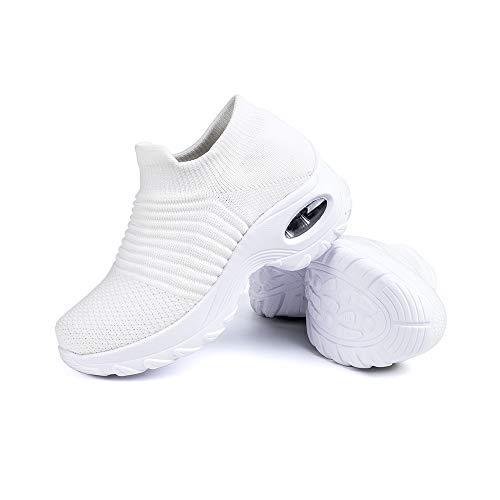 Sneakers Damen Turnschuhe Laufschuhe Sportschuhe Frauen Air Knit Mesh Atmungsaktive Leichte Gym Fitness Bequem Schuhe Weiße Größe 38
