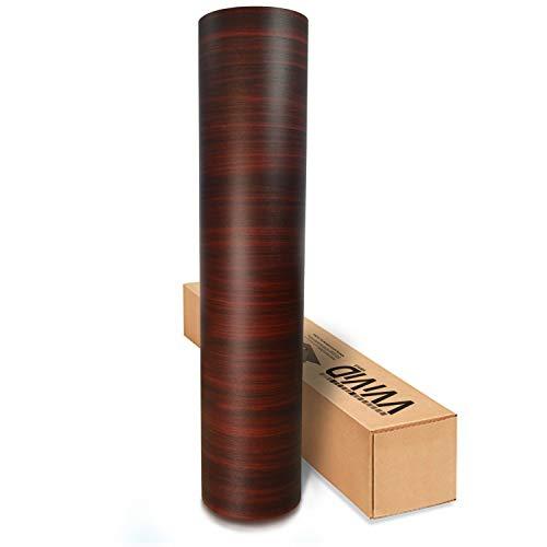 VVIVID Vinyl-Folie, dunkle Holzmaserung, strukturiert, rot, zum Selbermachen, kein Durcheinander, einfach zu installieren, Luftablass-Kleber (91 x 122 cm)