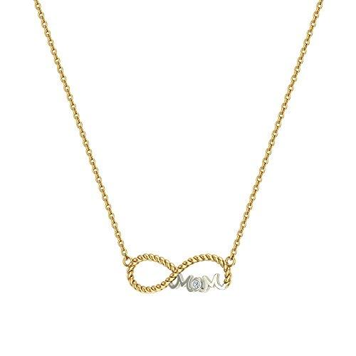 Infinity Mom Sapphire & Collar chapado en oro de 14 quilates, dos tonos SS 925