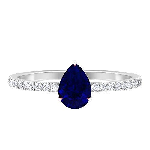 Anillo solitario con piedras laterales, anillo solitario de pera, piedras preciosas y anillos de diamantes para mujer 14K Oro blanco