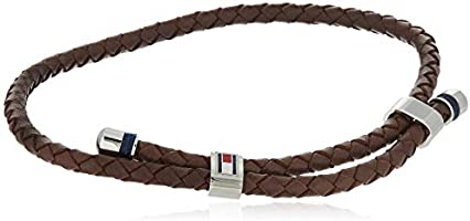 TOMMY HILFIGER MEN'S STAINLESS STEEL & BROWN LEATHER & NAVY CORD BRACELETS -2790223
