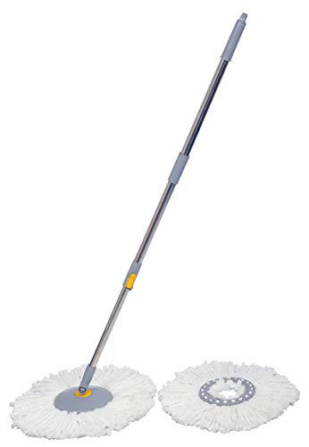 Esquire 360° Bucket Spin Mop Stick (Grey) with an Additional Refill