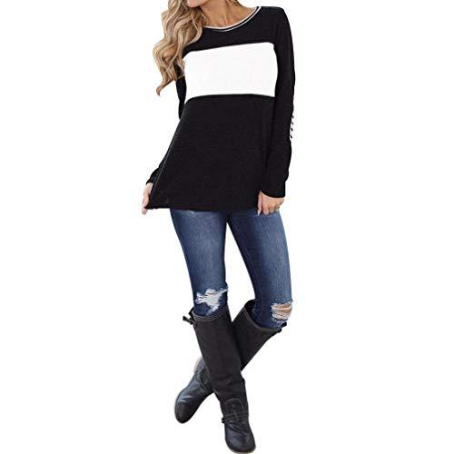 Emmala lange mouwen dames ronde hals kleurblokstrepen top gepatenteerd elleboog trui dames sweatshirts shirt tops zwart tank Esprit Comma Top Low