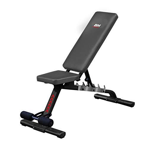 BH Fitness G310FD Banco de musculación ajustable. Peso max 100 Kg.Negro