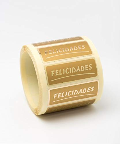 ETIQUETA ADHESIVA FELICIDADES 50X20mm(500u)