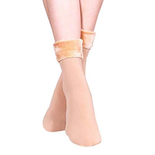 SHOBDW Mujer Lana Sólida Cachemira Pura Espesar Cálido Forrado Térmico Calzado suave y suave Calcetines de algodón Coral Fleece Piso mullido Calcetines Calcetines de invierno A