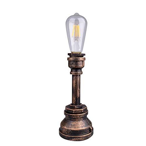 winchance Lámpara de Mesa de Hierro Forjado Lámpara de Mesa de Barra de Estilo Industrial Retro Lámpara de Mesa de tubería de Agua