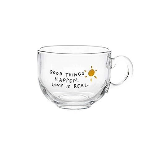 JLWM Cuenco para Sopa con Asa De Cristal Vaso, 460ML Cuencos para Sopa Jarra Taza Microonda Estilo Japonés Tazón para Leche Yogur Café Desayuno-Transparente