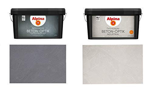 Alpina Farbrezepte Beton-Optik Industrial, Struktur-Farbe für cooles Beton-Design, Hellgrau oder Grau (Hellgrau)