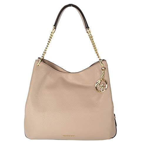 Truffle pebbled leather Gold tone hardware Gold logo charm Chain and leather handle Interior: central zip compartment, 6 slip pockets, 1 zipped pocket