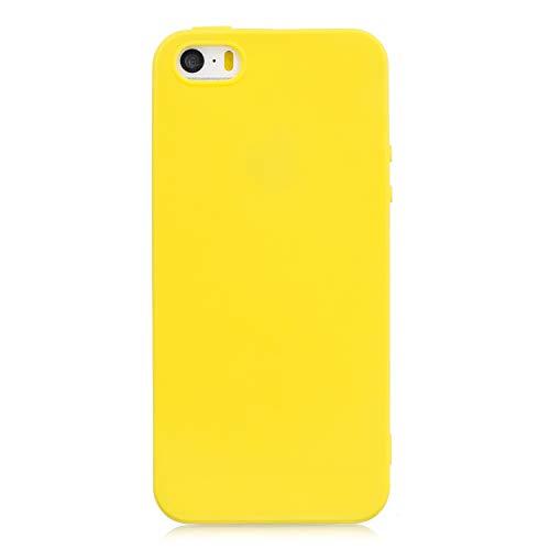 cuzz Funda para iPhone 5 / 5S / SE+{Protector de Pantalla de Vidrio Templado} Carcasa Silicona Suave Gel Rasguño y Resistente Teléfono Móvil Cover-Amarillo