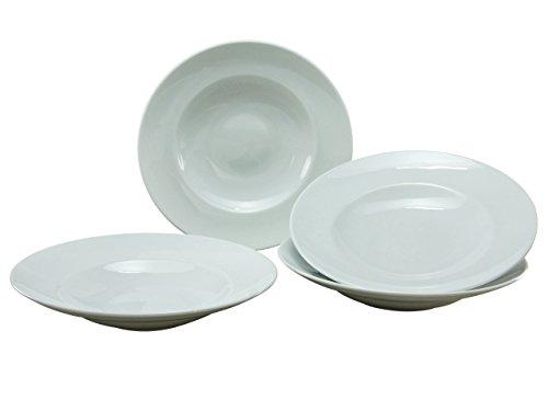 Creatable, 17866, Série Europa Blanc, Assiette Ronde de pâtes, 4 pièces, Porcelaine, 29,5 x 29,5 x 11,5 cm