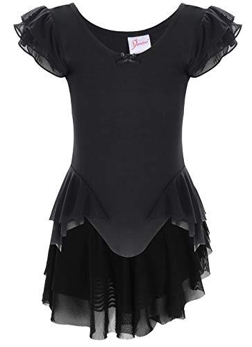Dancina Black Leotard Ruffle Sleeve Girls Athletic Motionwear for Ballet Dance Recital 10Black