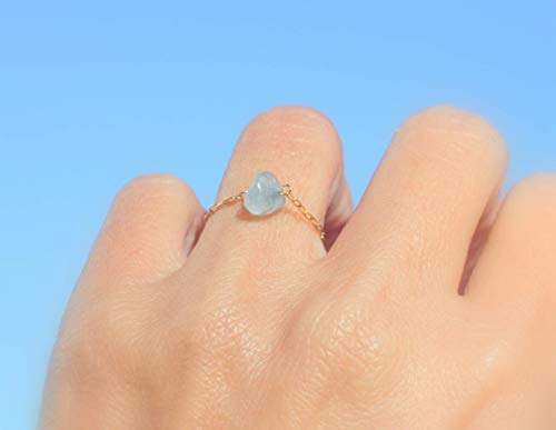 Aquamarine ring oxidase sterling silver rough raw aquamarine crystal stack stone ring size 7.5 March birthstone jewelry light blue ring