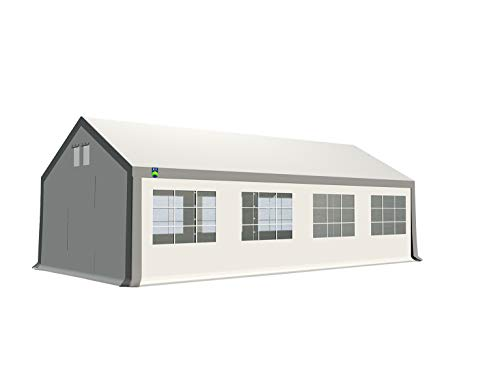 KC Partyzelt 4x8 m Pavillon Zelt 500g/m² - PVC Plane - Gartenzelt Festzelt Bierzelt - Rahmen aus Stahl - Inkl. Seitenwände & Giebelwände - Grau