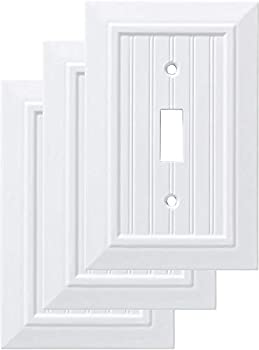Franklin Brass W35265V-PW-C Classic Beadboard Single Switch Wall Plate/Switch Plate/Cover  3 Pack  Pure White