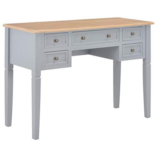 UnfadeMemory Schreibtisch mit 5 Schubladen Holz Arbeitstisch Computertisch Konsolentisch Bestelltisch Computerschreibtisch aus MDF + Kiefernholz 109,5 x 45 x 77,5 cm (Braun und Grau)